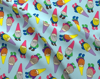 Garden Gnome Fabric - Garden Gnomes (Blue Background) By Lydia_Meiying - Colorful Garden Gnome Cotton Fabric By The Yard With Spoonflower