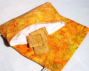 Orange Batik Reusable Sandwich and Snack Bag Set