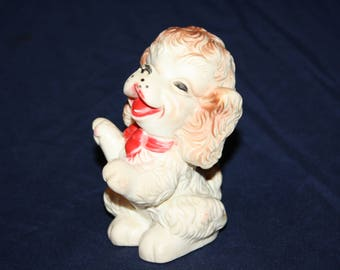 """1958 Edward Mobley Rubber Squeak Doll Toy White/Brown Puppy Dog 5"""" Tall"""