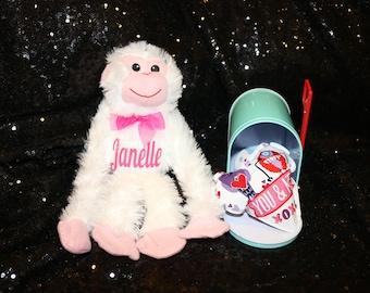 Valentine plush hanging monkeys 12 in.