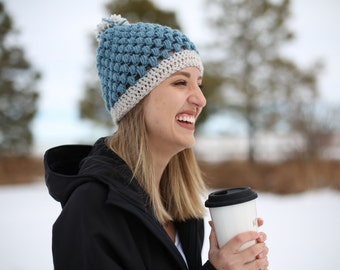 Icy Blue Puff Stitch Beanie with White-Gray Brim and Mixed Poof