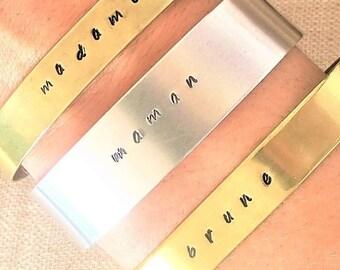 Bracelet silver MOM or Word or name to choose aluminium. Customizable personnalié/bracelet bracelet / bracelet Word engraved by hand