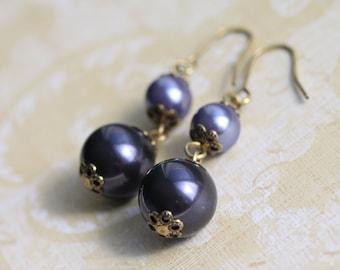Purple Pearls and Brass Findings Dangle Earrings