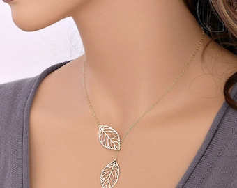 Fine silver necklace, double leaf