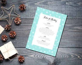 Winter Snowflake Menu Wedding Party Romantic Christmas Mint New Years Eve - Small Snowflakes