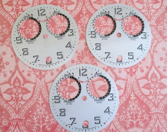 Three Vintage Metal Waterbury Clock Faces