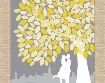 Wedding Signature Poster Art Print // Personalized Skyline & Silhouette Guestbook Print // 100+ Signatures // W-T05-1PS HH3