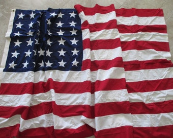 48 star extra large 5' x 9.5' American flag- cotton, Annin & Co, retro, Fourth of July, Memorial Day 40s, 50s