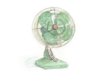 Watercolor Fan, Retro Fan Print, Green Fan Print
