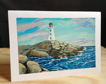 5X7 Greeting Card- Peggy's Cove Lighthouse.NS