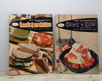 Set of two Good Housekeeping cookbooks, 1958 Breads and sandwiches, quick and easy, vintage cookbooks
