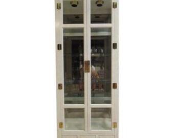 Hickory White Ivory Mebane Crystal Curio China Cabinet Hutch Chinoiserie B