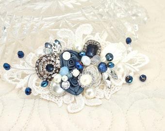 Sapphire Blue Bridal Comb- Blue Hair Accessory- Sapphire Hairpiece- Cobalt blue comb- Deep Blue Hairpiece- Cobalt Hairpiece- Dark Blue Comb