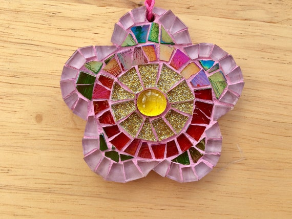 Handmade glass mosaic red hanging flower ornament Unique gift idea Home decor Gift for her Mothers' Day