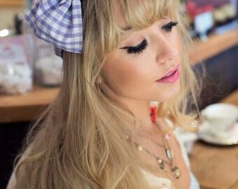 Lilac Gingham Bow Headband, Dolly Bow, Bow Headband, Rockabilly Pin Up Girl Headband, Oversized Bow Headband, Cute Gingham Headband