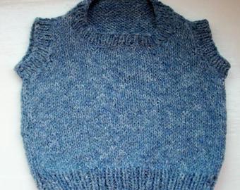 Baby vest, toddler soft knit tank top, slipover, denim blue, cotton, wool by SpinningStreak