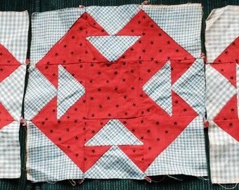 VINTAGE QUILT BLOCKS, double T, turkey red, c 1900, hand sewn, graphic, upcycle craft