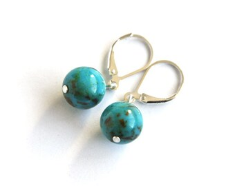 Genuine Turquoise Earrings Kingman Turquoise Beads Sterling Silver Leverback Blue Brown Natural Stone Southwest Turquoise #18637