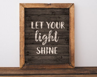 Let Your Light Shine Print, Wooden Art Printable, Printable Quote, Wall Art, Trendy Home Decor, Printable Art, Art Printable, Downloadable
