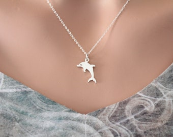 Sterling Silver Dolphin Necklace, Silver Dolphin Charm Necklace, Simple Dolphin Charm Necklace, Dolphin Necklace, Dolphin Charm Necklace