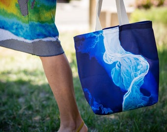 Canvas Satchel - Tote Bag - Lidar Image - Willamette River