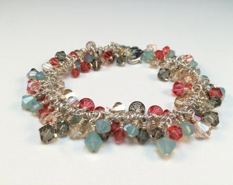Rose and Aqua Crystal Bracelet