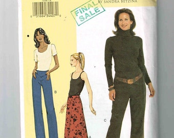 "2002 Uncut Today's Fit By Sandra Betzina, Vogue 7538, Waist Sizes 26 1/2"" - 30 1/2"" (67 - 77.5cm), A-line Skirt, Straight Or Boot Leg"
