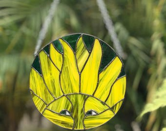 Stained Glass Sun.  Stained Glass Window Hanging