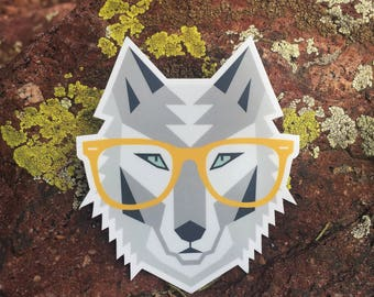 Hipster Wolf With Glasses | Vinyl Sticker Design