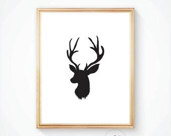 Printable art, Deer wall art, Deer print, Deer art, Deer poster, Antler print, Art print, Deer, Antler art, Woodland animal, Deer wall art,