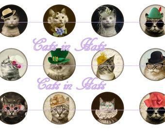 "Cat Magnets, Cat Pins, Cats n Hats Magnets, Cats n Hats Pins, Cat Party Favors, Cat Lover Magnets, 1"" Flat, Hollow Bk, Cabochons, 12 ct"