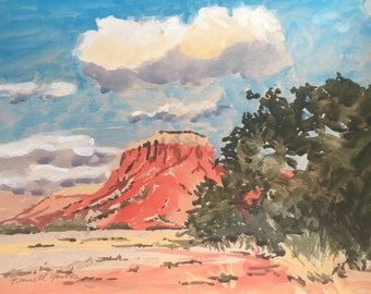 New Mexico Landscape Shade Ghost  Ranch, Original Gouache Watercolor Painting, Big Sky, Western Art,Santa Fe NM Painting, Canyon Dessert Art