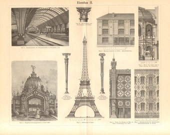 1894 Truss, Steel Structures, Steel Constructions and  Architecture Original Antique Engraving