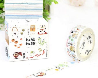 1 roll: 7 m masking tape with Asian motif