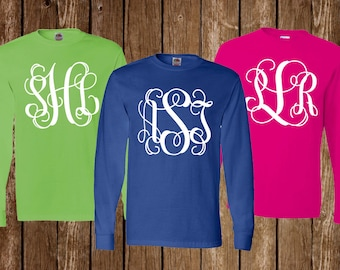 Long Sleeve Monogram Shirt Personalized Long Sleeve Monogram Shirt Monogram Long Sleeve Shirt