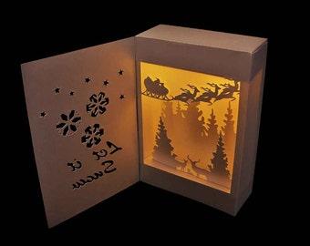 3D SVG Shadow Box Lantern Let it Snow