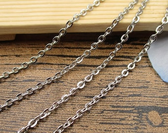 6Ft Length Stainless Steel Chain-2.4x2.4mm,Necklace Chain,Silver Tone-CS051