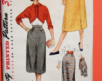Simplicity 4211 Vintage skirt and short jacket pattern Teen size 12