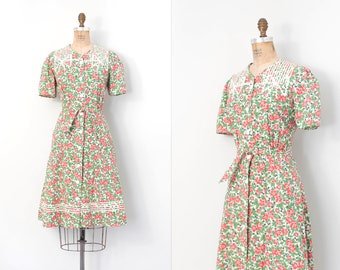 vintage 1930s dress | 30s floral cotton day dress | green and pink (large l)