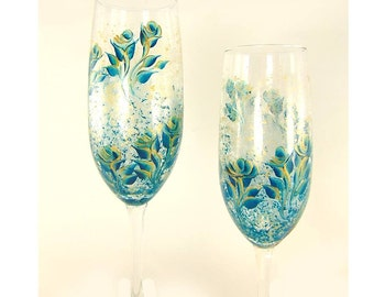 Bridesmaids Gift Idea - 9 Hand-Painted Personalized Champagne Glasses - Teal Blue, Gold Roses, Confetti Background Set of 9