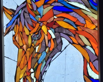 Glass Mosaic Orange Horse