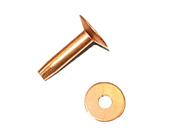 Size 9, 12 & 14 Copper Rivets and Burrs - 50 Pack
