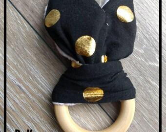 Bunny Ear  Wooden Teether Ring