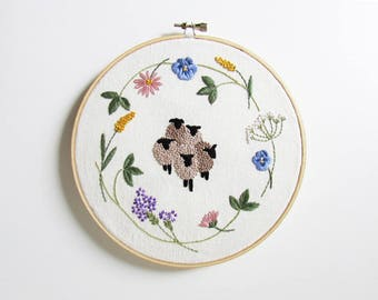 Spring sheep hand embroidery pattern - PDF - Instant download