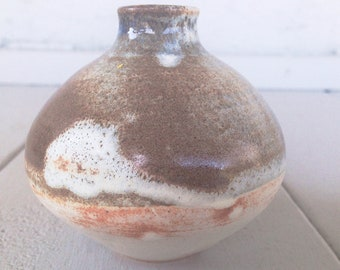 Cream and Brown Bud Vase