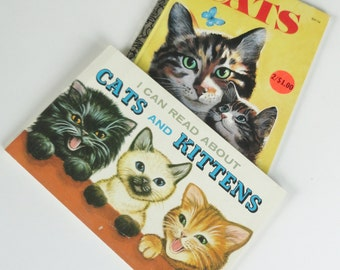 2 Vintage Cat Books -- I Can Read About CATS and KITTENS, CATS -- Cat Lover Gift, Old Kitty Cat Books, Instant Collection, Pussy Cat, Kitten