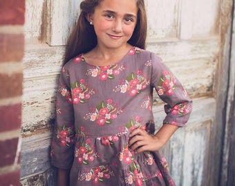 Hazel Top and Dress PDF Sewing Pattern, including sizes 12 months-12 years, Girls Sewing Pattern