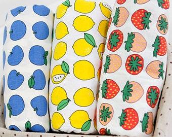 fruit - apple, lemon, strawberry fabric / cotton 20s
