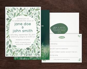 watercolor greenery wedding invitation bundle — invitation / rsvp postcard / info card — printable