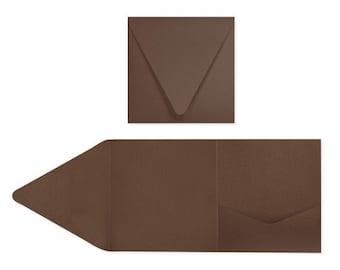 6 x 6 Pocketfold Invitations - Chocolate (10 Qty.)